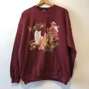 Vintage Maroon Cat Crewneck Sweater